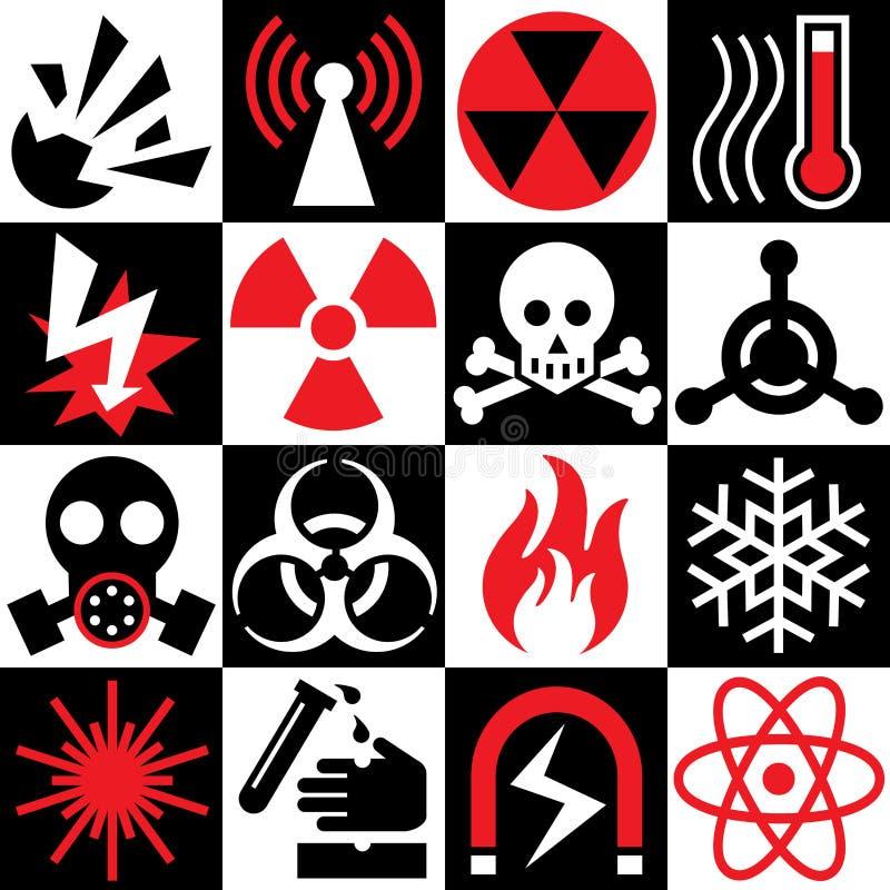 Iconos amonestadores del peligro ilustración del vector