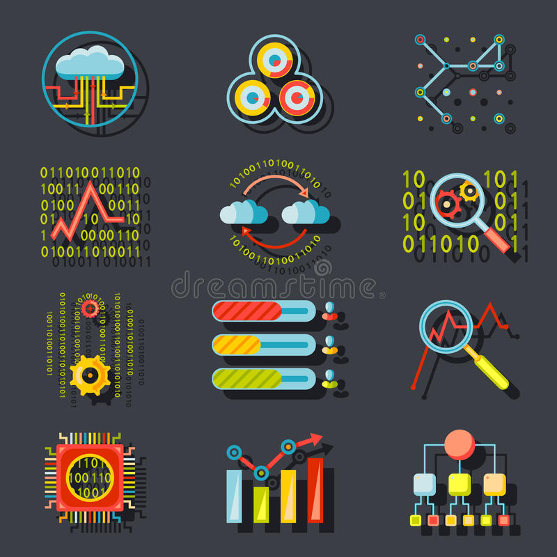 Iconos analíticos del servidor del sitio web de los datos en elegante stock de ilustración