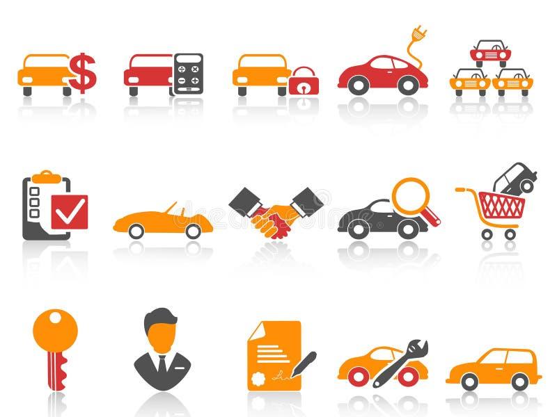 Iconos anaranjados del concesionario de coches de la serie del color rojo fijados stock de ilustración