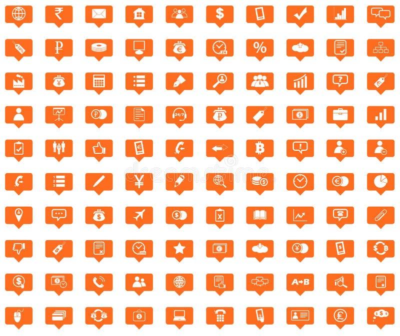 Iconos anaranjados del mensaje del negocio fijados ilustración del vector
