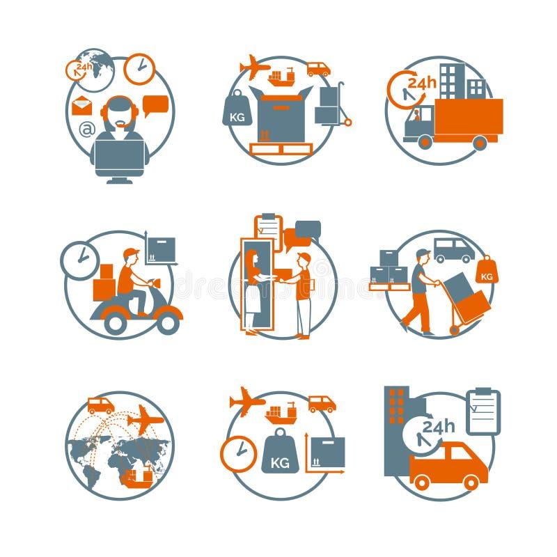 Iconos anaranjados grises del círculo logístico fijados stock de ilustración