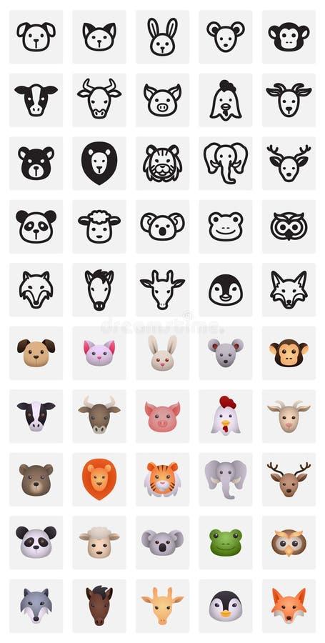 Iconos animales stock de ilustración