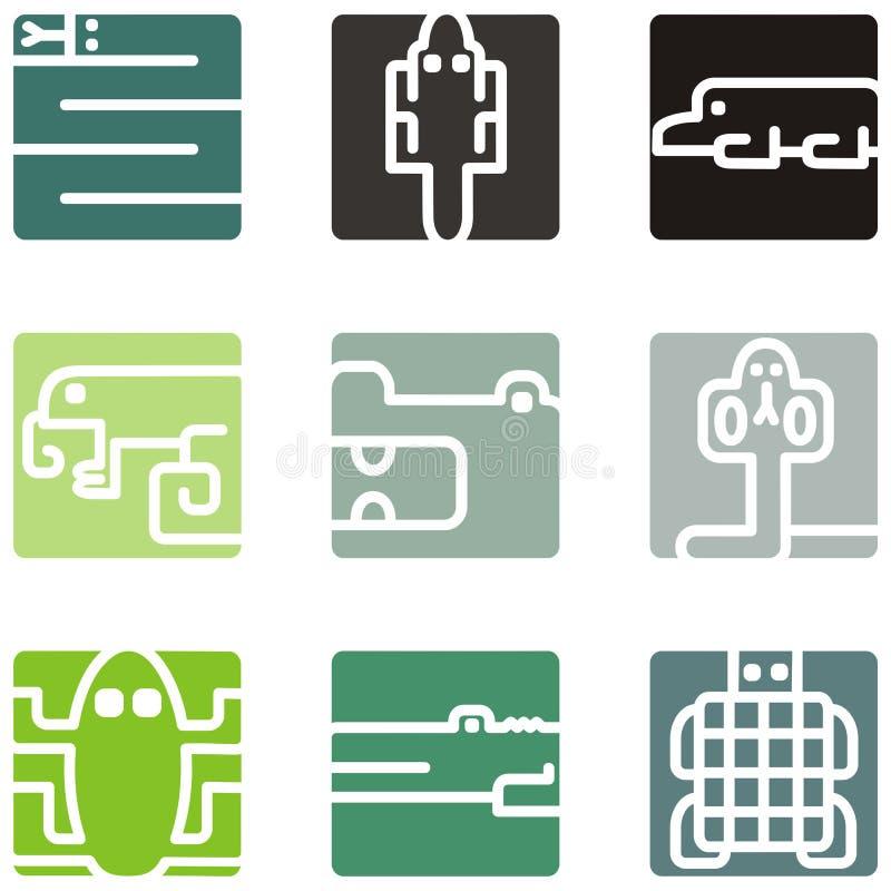 Iconos animales cuadrados stock de ilustración