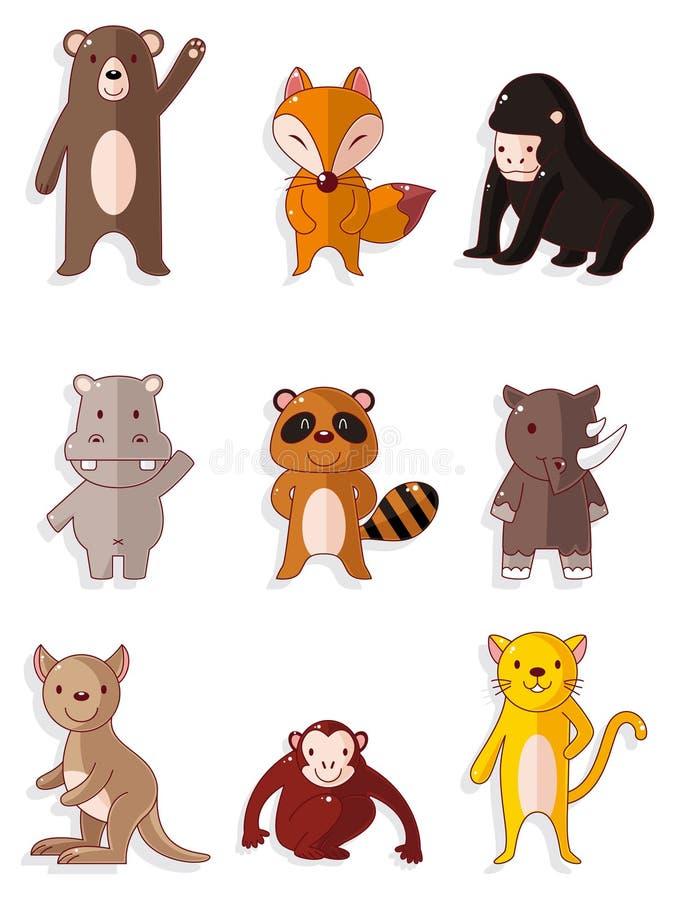 Iconos animales de la fauna de la historieta fijados stock de ilustración