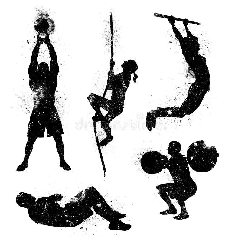 Iconos apenados del entrenamiento stock de ilustración