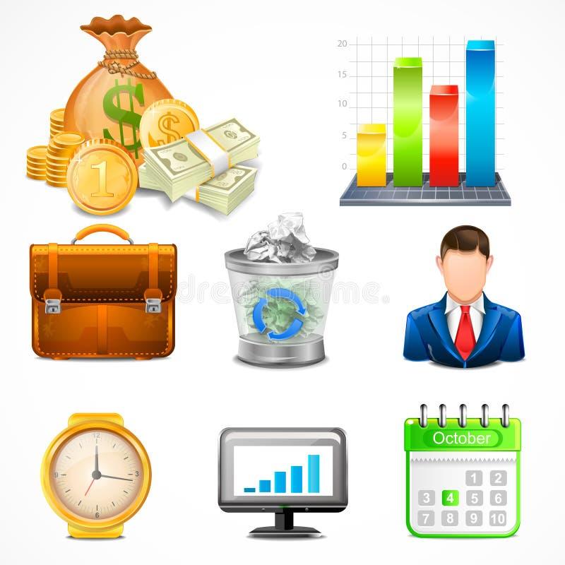 Iconos, artículos del vector del negocio ilustración del vector