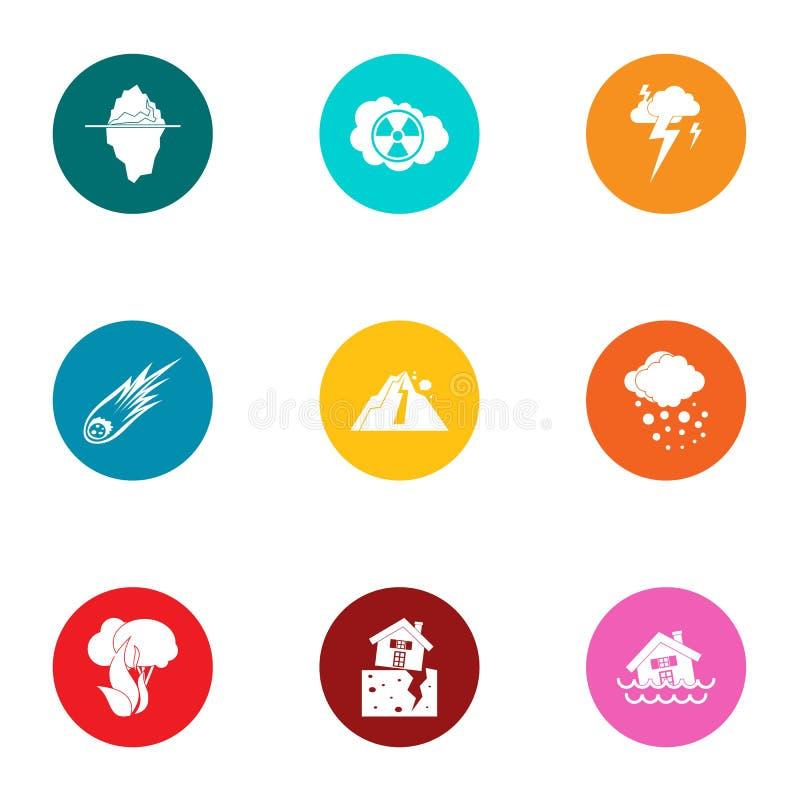 Iconos artificiales fijados, estilo plano del peligro ilustración del vector