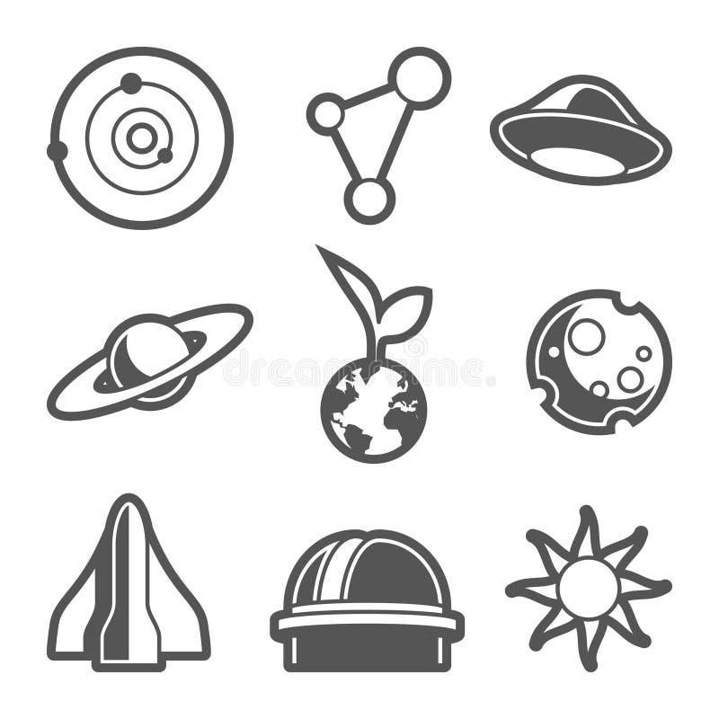 Iconos astronómicos del espacio ilustración del vector