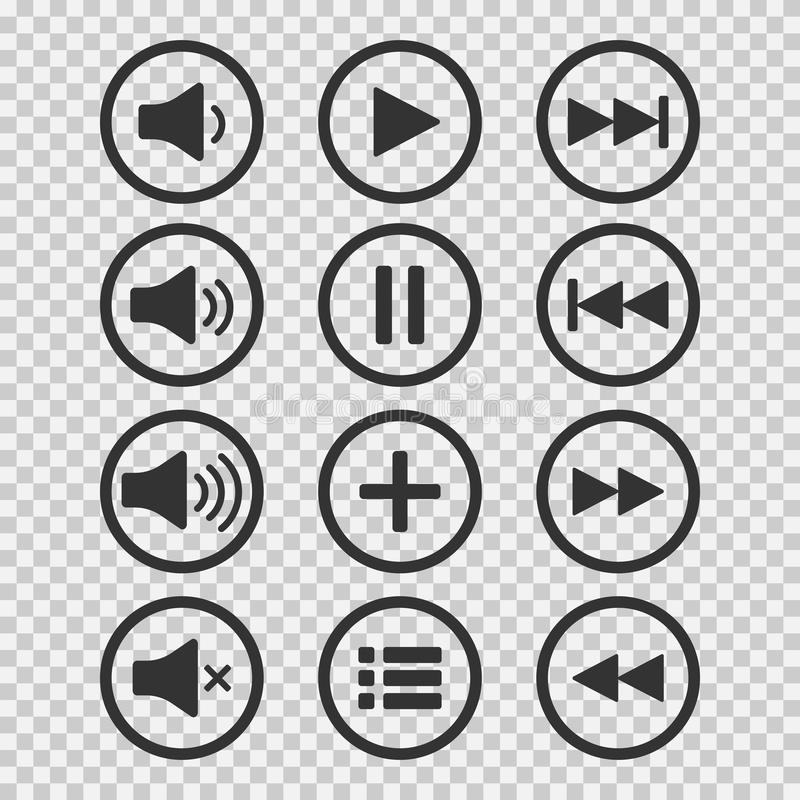 Iconos audios Botones de los sonidos Botón de reproducción Muestra de la pausa Símbolo para el web o el app Ilustración del vecto imagen de archivo