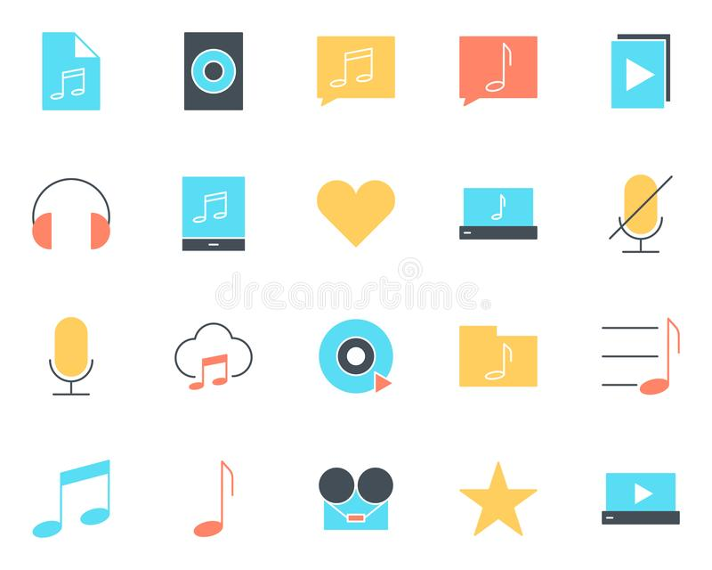 Iconos audios de la silueta de la música fijados Pictogramas del vector ilustración del vector