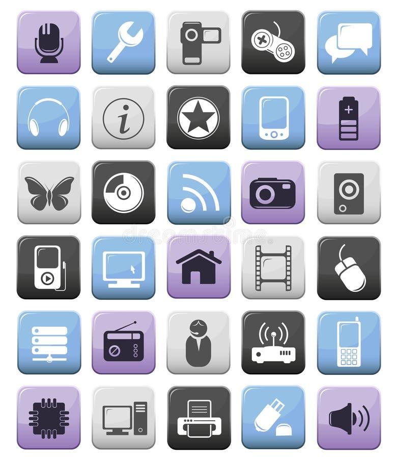 Iconos audios/video y de los multimedia fijados ilustración del vector