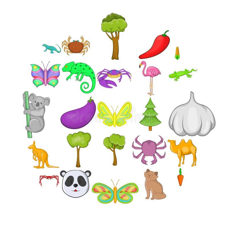 Iconos australianos fijados, estilo de los animales de la historieta stock de ilustración