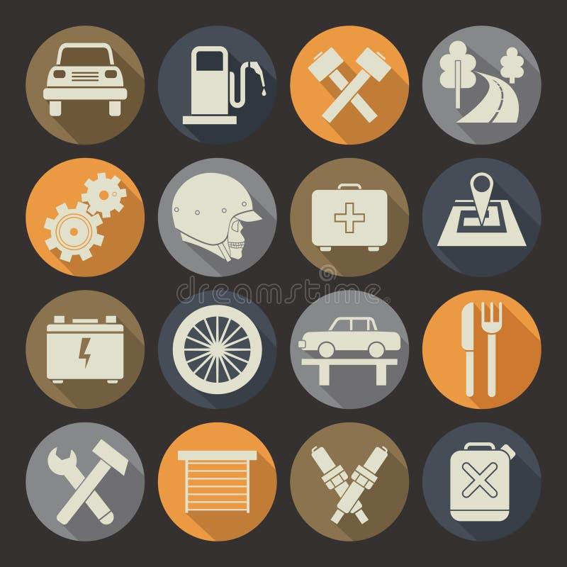 Iconos autos del servicio fijados Placa de los colores libre illustration
