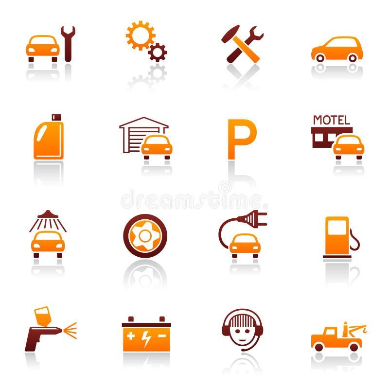 Iconos autos del servicio y de la reparación stock de ilustración