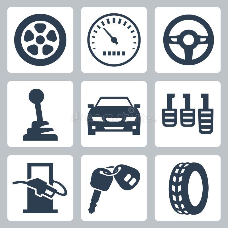 Iconos autos del vector fijados stock de ilustración