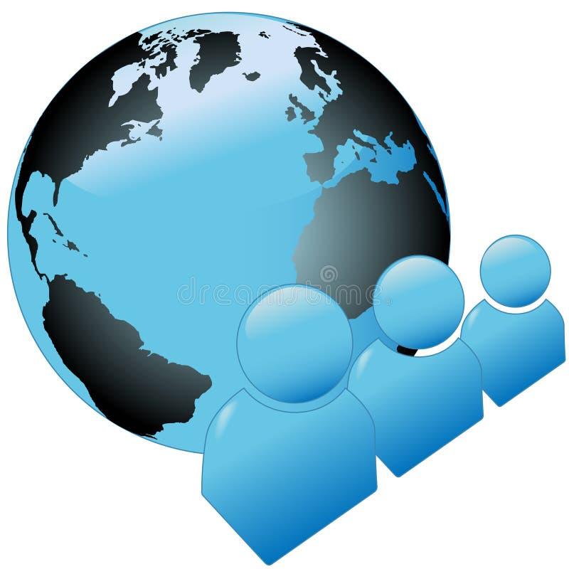 Iconos azules brillantes del símbolo de la gente del mundo con el globo ilustración del vector
