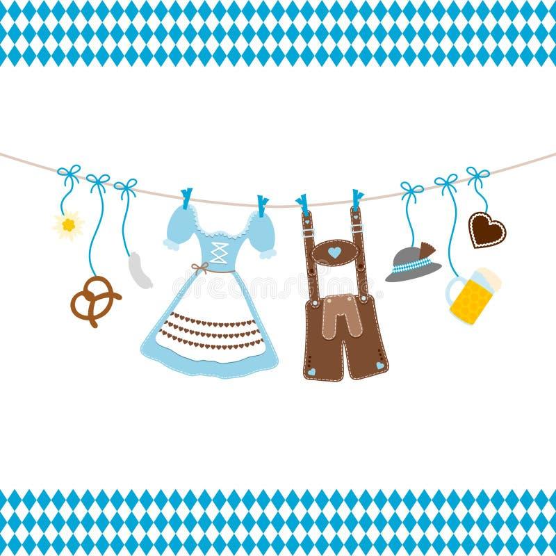 Iconos azules colgantes de Oktoberfest con Diamond Pattern Borders Blue And blanco stock de ilustración