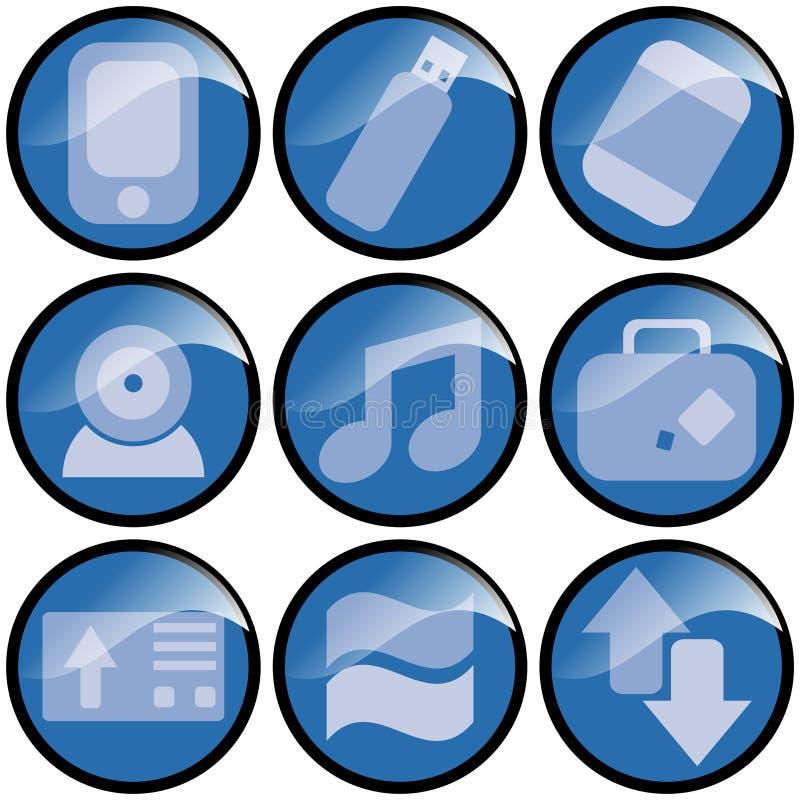 Iconos azules de la onda stock de ilustración