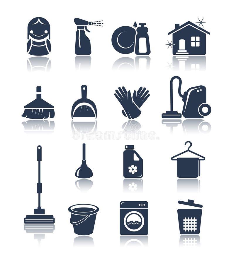 Iconos azules de limpieza stock de ilustración