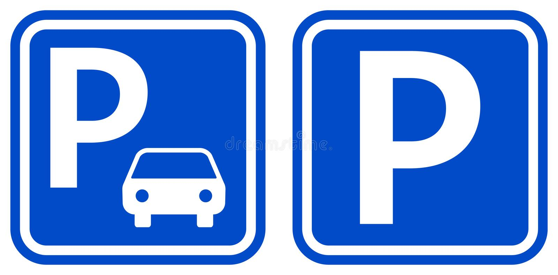 Iconos azules del color de la muestra del estacionamiento con el diseño dos ilustración del vector