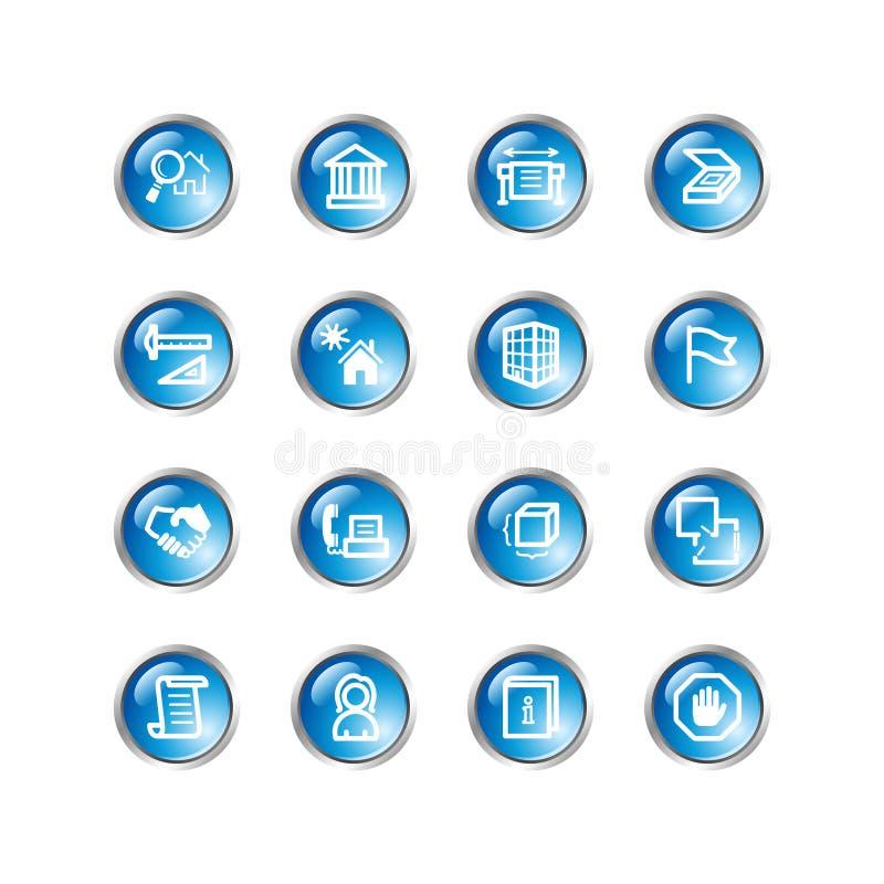 Iconos azules del edificio de la gota stock de ilustración