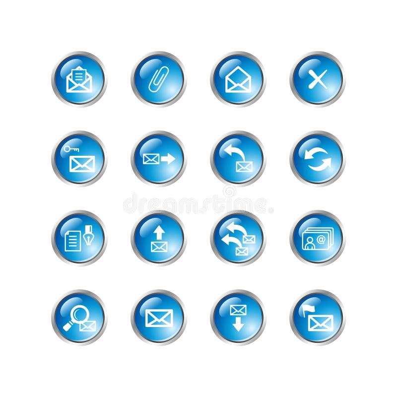 Iconos azules del email de la gota stock de ilustración