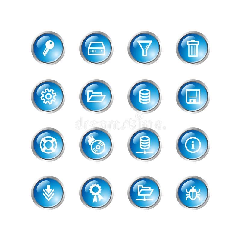 Iconos azules del servidor de la gota stock de ilustración