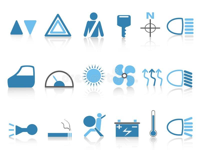 Iconos azules del tablero de instrumentos del coche fijados libre illustration