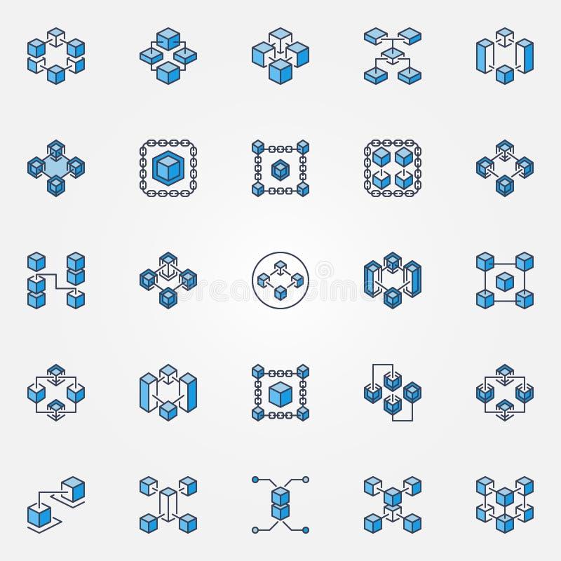 Iconos azules del vector de Blockchain fijados Muestras de la tecnología de la cadena de bloque libre illustration
