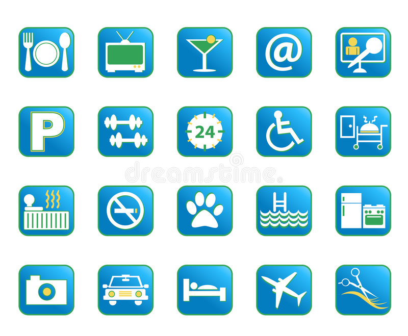 Iconos azules del vector del hotel ilustración del vector