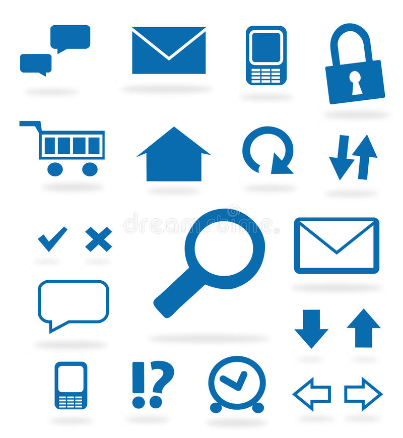 Iconos azules del Web site stock de ilustración