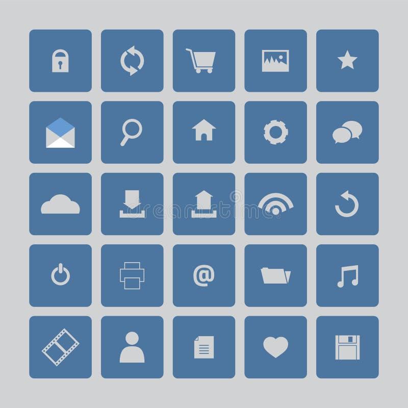 Iconos azules del Web site fijados stock de ilustración