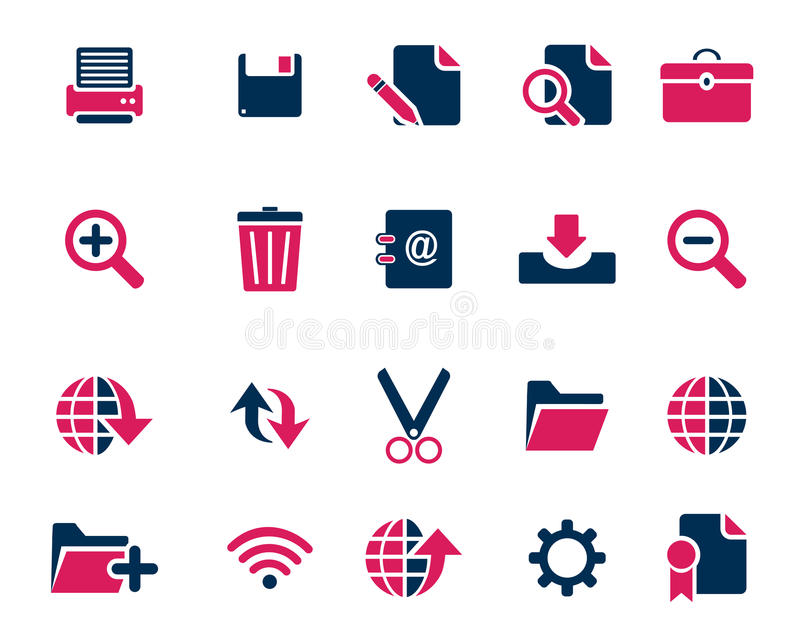 Iconos azules del web y de la oficina del rosa común del vector en la alta resolución ilustración del vector