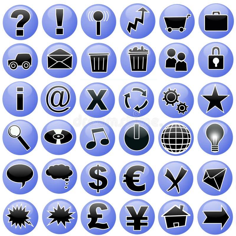 Iconos azules fijados stock de ilustración