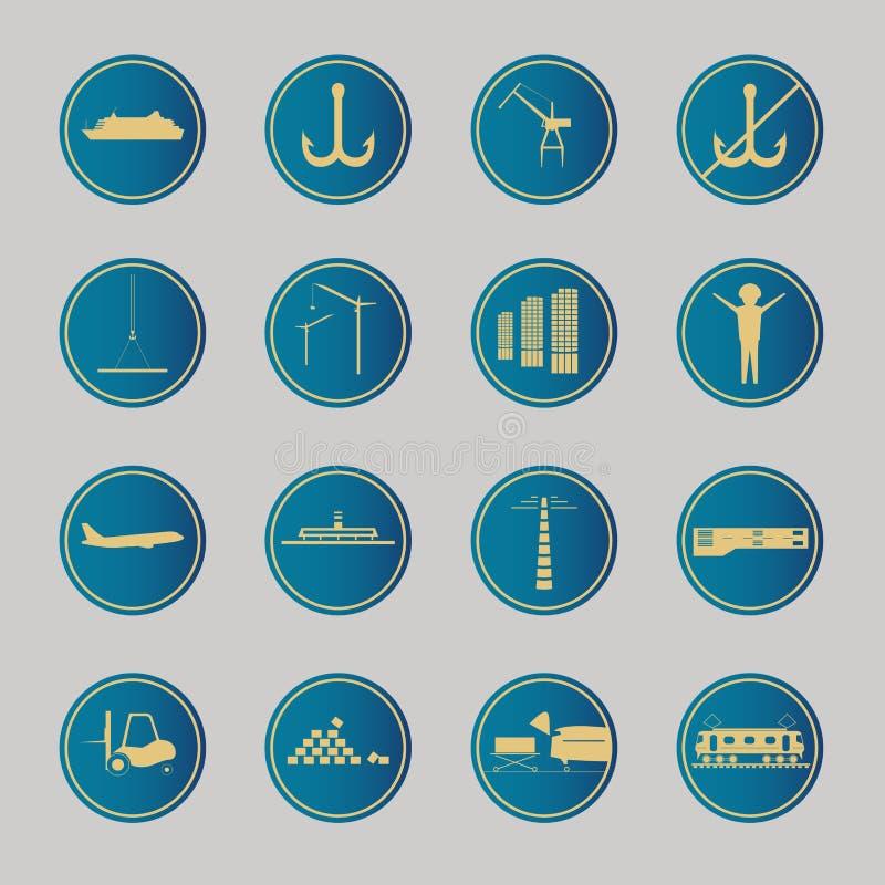 Iconos azules industriales y logísticos libre illustration