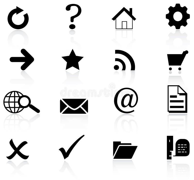 Iconos básicos del Web fijados stock de ilustración