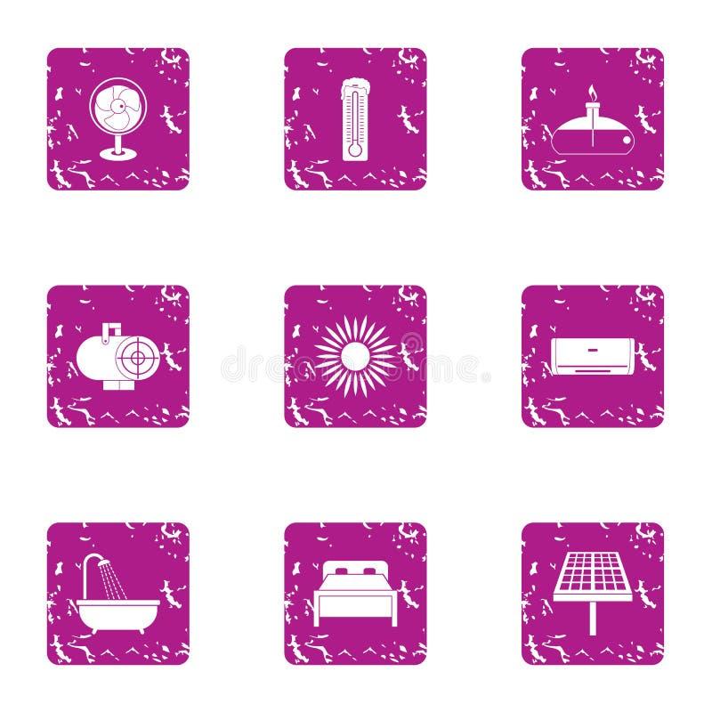 Iconos baratos fijados, estilo del motel del grunge stock de ilustración