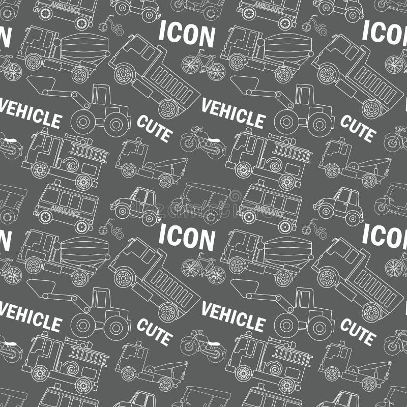 Iconos blancos de la raya del transporte inconsútiles libre illustration