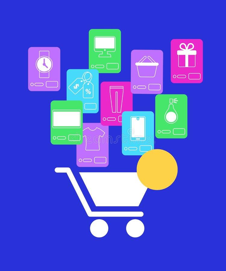 Iconos blancos del carro de la compra y de la aplicación móvil ilustración del vector