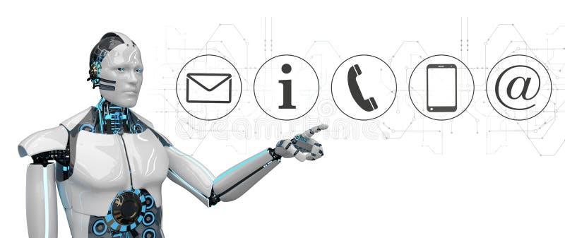 Iconos blancos del contacto del tecleo del robot stock de ilustración