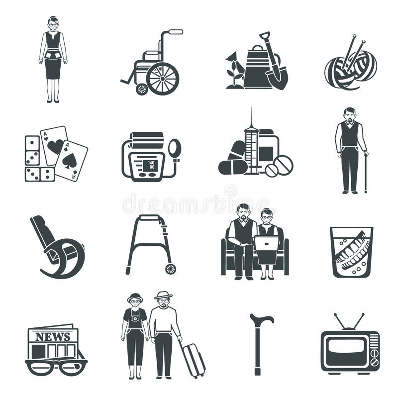 Iconos blancos del negro de la vida de los pensionistas fijados ilustración del vector