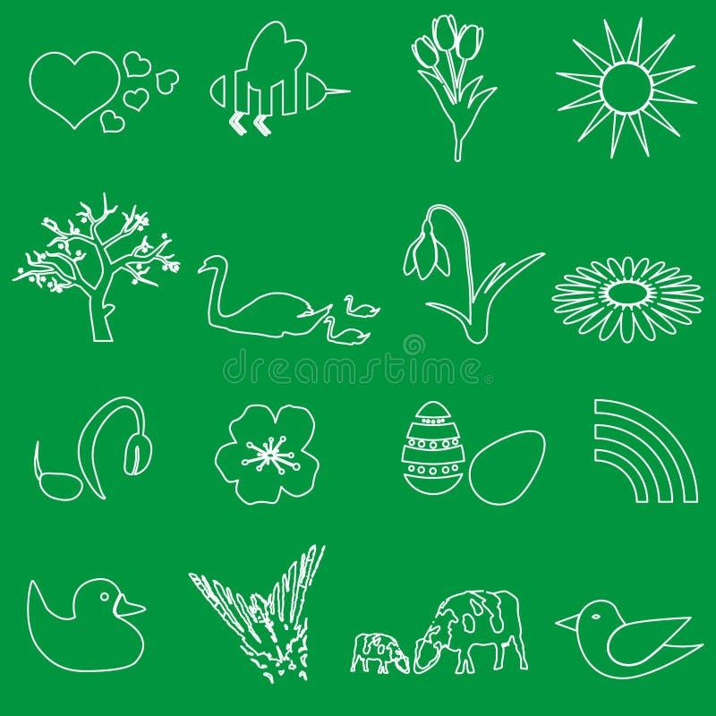 Iconos blancos del vector del esquema de la primavera fijados libre illustration