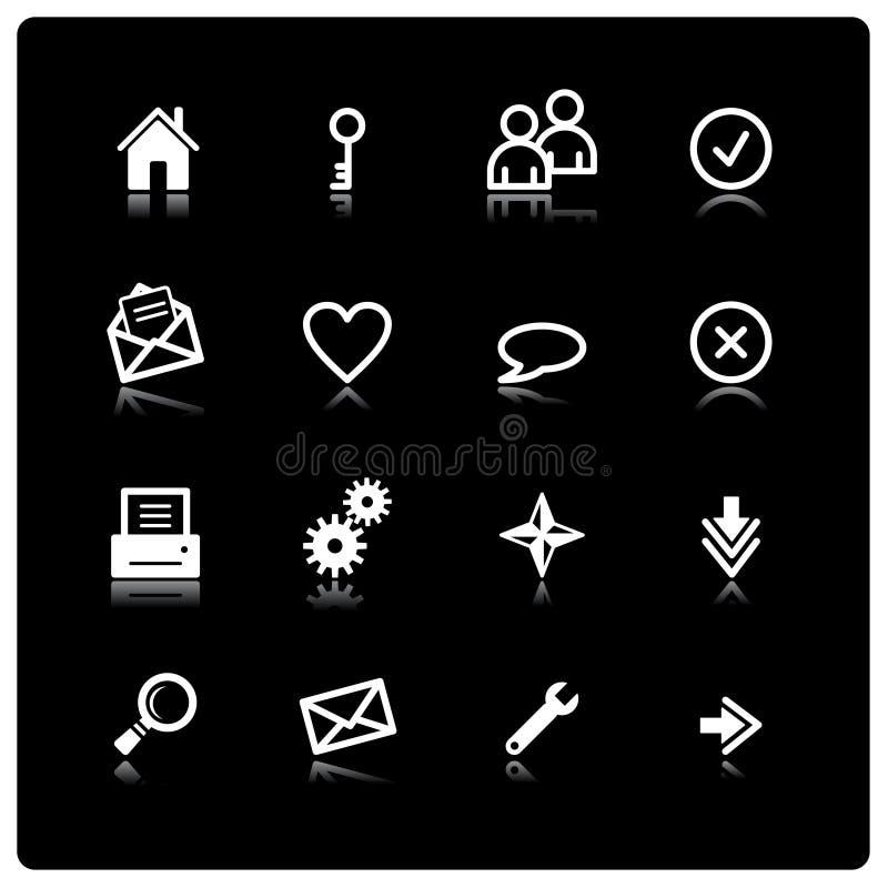 Iconos blancos del Web libre illustration
