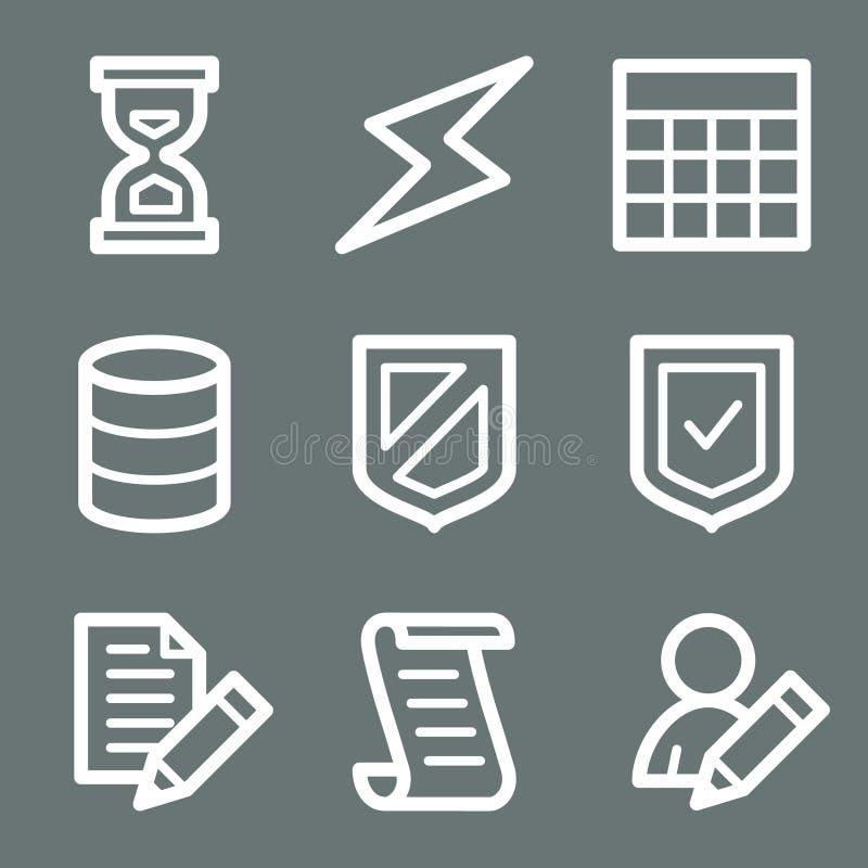 Iconos blancos del Web de la base de datos stock de ilustración