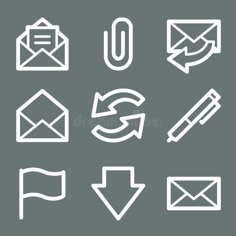 Iconos blancos del Web del email stock de ilustración