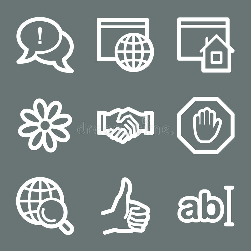 Iconos blancos del Web del Internet libre illustration
