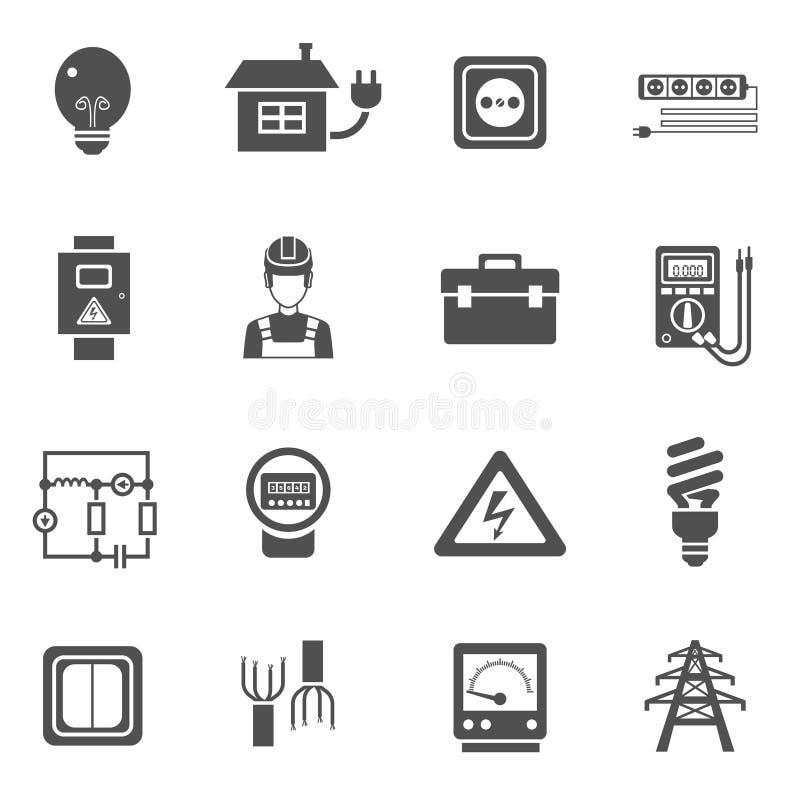 Iconos blancos negros de la electricidad fijados ilustración del vector