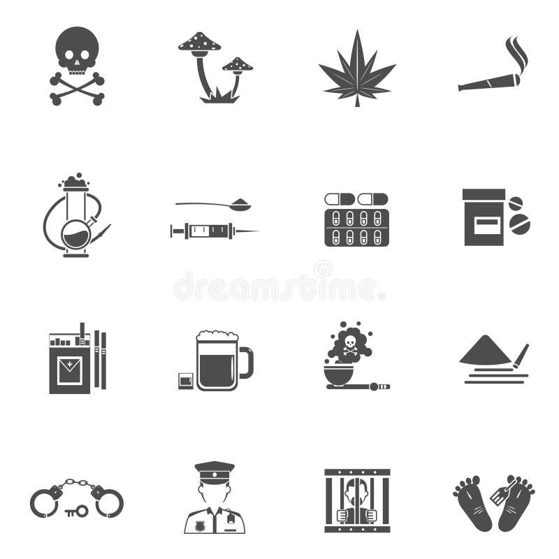 Iconos blancos negros de las drogas fijados libre illustration