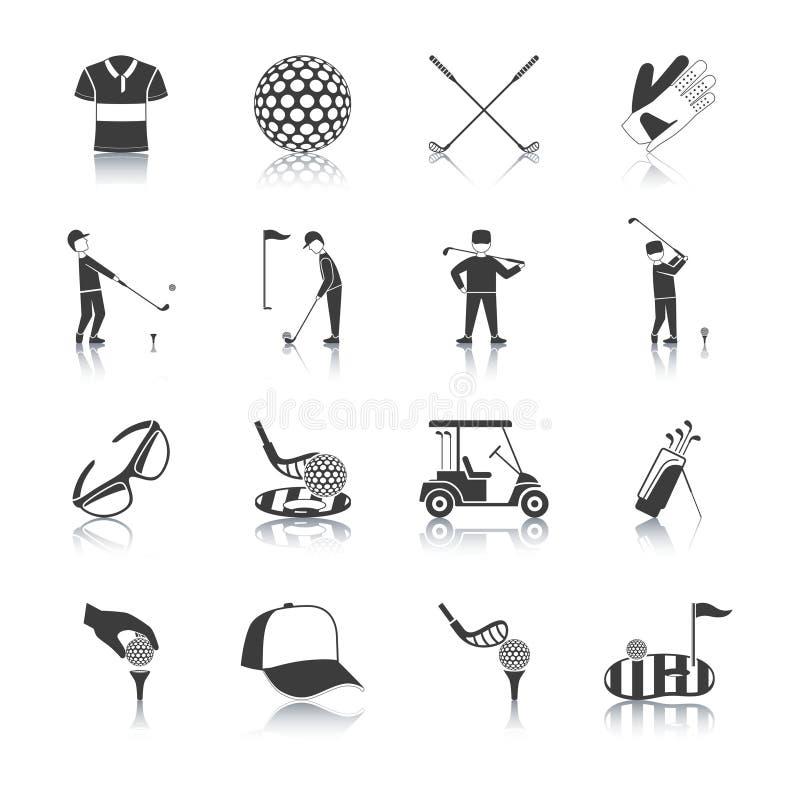 Iconos blancos negros del golf fijados ilustración del vector