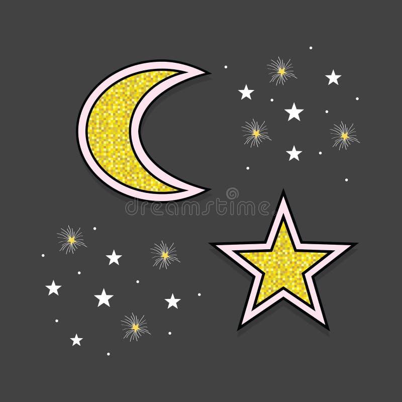 Iconos blancos y de oro abstractos de la luna y de las estrellas en el cielo en la noche en negro libre illustration